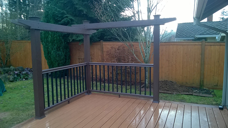 Deck with corner pergola littles construction for How to build a corner pergola